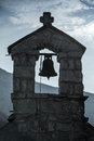 The monastery gradiste silhouette small bell tower of serbian orthodox church montenegro Royalty Free Stock Photos