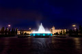 Monastery of the hieronymites and fountain at night lisbon portugal Stock Photo