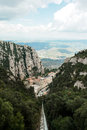 Monastery of montserrat from above view the funicular railway in catalonia spain Royalty Free Stock Image