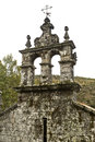 Monastery of pitoes detail the bell tower over the entranceway to the church the portugal Royalty Free Stock Photos