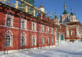 Monastery restoration monastic constructions in the scaffolding in the town of kolomna russia Royalty Free Stock Photos