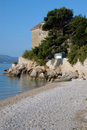 Monastery rocky coastline croatia Stock Photo