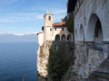 The monastery of santa caterina del sasso lake maggiore italy march Royalty Free Stock Photos