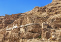 The monastery of Temptation on the mountain Carental, Jericho, Judean desert Royalty Free Stock Photo