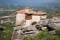 Monastery on top rock Meteora Royalty Free Stock Photos