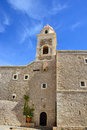 Monastery toplou greece the walls of the on a background of blue sky Royalty Free Stock Images