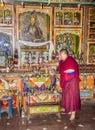 Monch inside the bon monastery Royalty Free Stock Photo