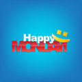 Monday background happy with a smile face typography Stock Images