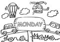 Monday coloring page with transportation.