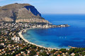 Mondello panoramic view of the s gulf palerm sicily Stock Images