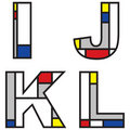 Mondrian alphabets Stock Images