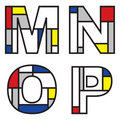 Mondrian alphabets Royalty Free Stock Image
