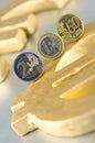 Monet euro znak Zdjęcia Royalty Free