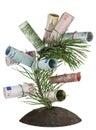 Monetary tree on bed Royalty Free Stock Photo