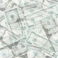 Money abstract background from translucent twenty dollars Royalty Free Stock Photos