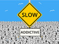Money is addictive an illustration of slow road sign with a field of bank notes or cash in the background Stock Image