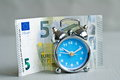Money alarm euro banknote with clock in front Royalty Free Stock Photo