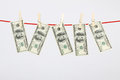 Money american hundred dollar bills hanging on laundry line horizontal Royalty Free Stock Image