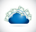 Money around a storage cloud illustration design over white background Stock Photo