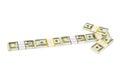 Money arrow made of isolated on white background Stock Image
