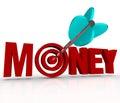 Money Arrow in Target Bulls-Eye Earn Riches Reach Goal Royalty Free Stock Photo