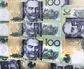Money australian hundred dollatr bills background Royalty Free Stock Photos