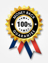Money back guarantee golden badge Royalty Free Stock Images
