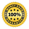 Money back guarantee golden label Royalty Free Stock Photography