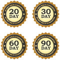 Money back guarantee illustrated set of labels for and day duration periods in grey and dark gold Royalty Free Stock Photography
