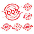 Money back guarantee red stamp set Royalty Free Stock Photo