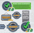Money back guarantee set of various retro design elements easy to edit eps Stock Photos