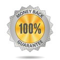 Money back guarantee sign percents silver badge Royalty Free Stock Images