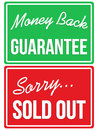 Money back guarantee and sorry sold out store signs a vector based illustration of Royalty Free Stock Photos