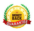 Money back guaranteed label isolated on white background d render Royalty Free Stock Photography