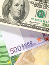 Money background from dollars and euro Stock Images