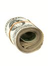 Money background us dollars rolled on white close up photo with shallow dof Royalty Free Stock Photos