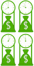 Money bag with clock symbol of world stock time Royalty Free Stock Images