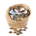 Money bag with coins and banknotes isolated over white Royalty Free Stock Photo