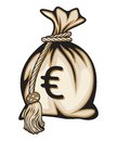 Money bag with euro sign vector illustration of the Stock Photo