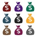 Money bag icon in black style isolated on white background. Wlid west symbol stock vector illustration. Royalty Free Stock Photo