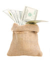 Money in bag sack isolated on white background Royalty Free Stock Images