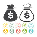 Money bag sign icon Dollar currency set Vector black Yellow pink gre Royalty Free Stock Photo