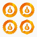 Money bag sign icon. Dollar USD currency. Royalty Free Stock Photo