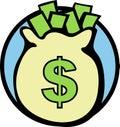 Money bag vector illustration Royalty Free Stock Photography
