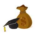 Money bags education hat sign Royalty Free Stock Images