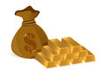 Money bags and gold bars Stock Photo