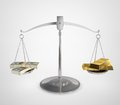 Money balance d illustration of scales of justice with bundle of on one side and gold ingots on the other Stock Image