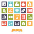 Money, banking and finance square icon set