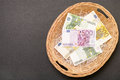 Money basket euro banknotes in a wicker for your financial concepts copy space to the left Royalty Free Stock Photo