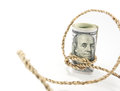 Money binding with rope on white background Stock Photos